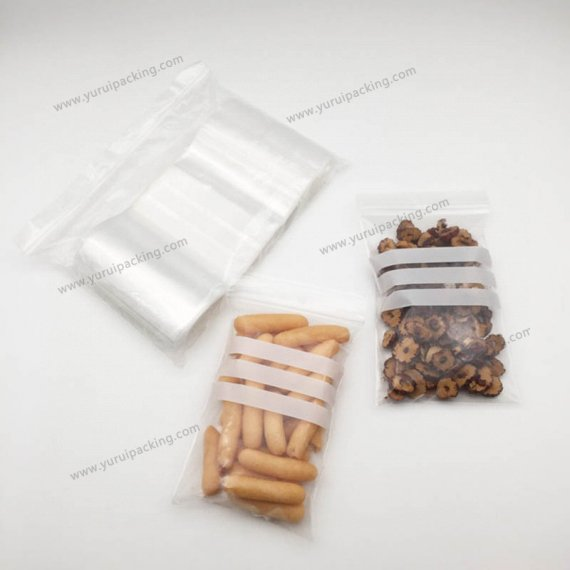 White Stripe Reclosable Clear Plastic Ziplock Bags Poly Writable